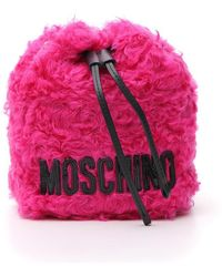 Moschino Furry Satchel Tote - Pink