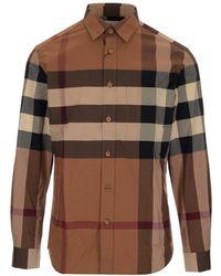 Burberry Check Stretch Poplin Shirt - Brown