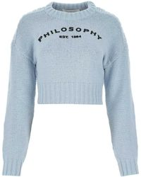 Philosophy Di Lorenzo Serafini Ruby Logo Cropped Sweater - Blue