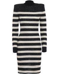 6281801d9780 Balmain Black Embellished Fringe Dress in Black - Lyst