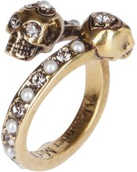 Alexander McQueen Wrapped Skull Ring - Metallic