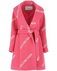 Balenciaga Wool Blend Coat Donna - Pink