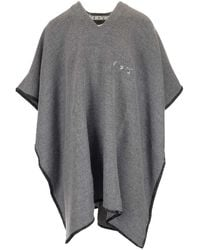 Off-White c/o Virgil Abloh Logo Embroidered Oversized Arrows Poncho - Grey