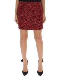 Saint Laurent Animal Print Skirt - Red