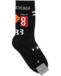 Balenciaga Black Stretch Cotton Blend Socks Nd Uomo