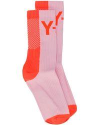 Y-3 Color Block Logo Socks - Pink