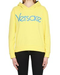 Versace - Yellow Embroidered Logo Hoodie - Lyst
