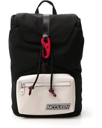Alexander McQueen Logo Hooked Backpack - Black