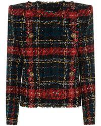 Balmain Tartan Tweed Jacket - Red