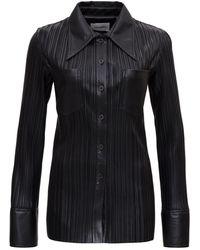 Nanushka Faux Leather Plisse Shirt - Black