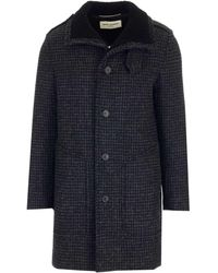 Saint Laurent Checked Buttoned Coat - Black