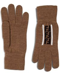 Fendi Ff Intarsia Gloves - Brown