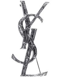 Saint Laurent Monogram Brooch - Metallic