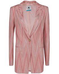 M Missoni Chevron Patterned Single Breasted Blazer - Pink