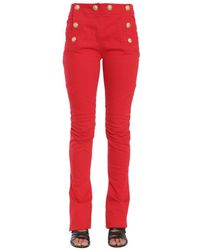 Balmain Button Embellished Flare Jeans - Red
