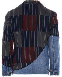 Greg Lauren Patchwork Denim Buttoned Blazer - Blue
