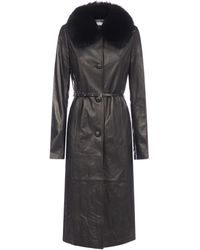 Saks Potts Charlot Fox-fur Collar Lambskin Coat - Black