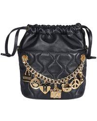 Moschino Charm Embellished Bucket Bag - Black