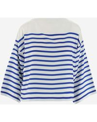 Polo Ralph Lauren Striped Cropped-sleeve Top - Blue