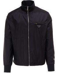 Prada Logo Zip Up Jacket - Black