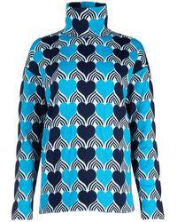 3 MONCLER GRENOBLE Heart Pattern Turtleneck T-shirt - Blue