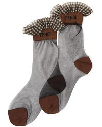 Fendi Ruffled Logo Tulle Socks - Grey
