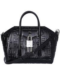 Givenchy Antigona 4g Motif Lock Mini Tote Bag - Black