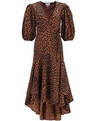 Ganni Asymmetrical Leopard Print Dress - Brown