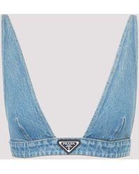 Prada Washed Denim Logo Plaque Bra Top - Blue