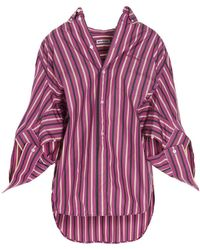 Balenciaga Twisted Swing Striped Shirt - Multicolour