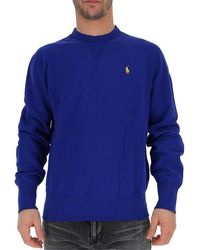 Polo Ralph Lauren Embroidered Logo Crew Neck Jumper - Blue