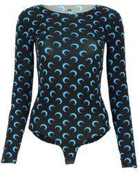 Marine Serre Moon Printed Bodysuit - Blue