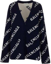 Balenciaga Allover Logo Intarsia Cardigan - Blue