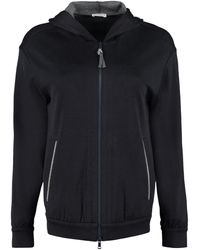 Brunello Cucinelli Zipped Hooded Sweatshirt - Blue