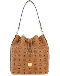 MCM Essential Drawstring Bucket Bag - Brown
