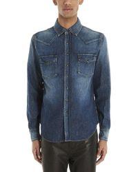 Saint Laurent Buttoned Denim Shirt - Blue