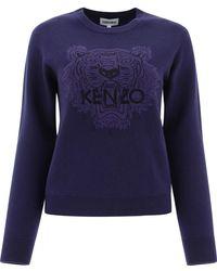 KENZO Tiger Embroidered Crewneck Jumper - Blue
