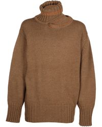 Y. Project Cut-out Detail Oversized Jumper - Brown