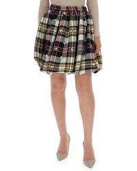 Miu Miu - Checked Mini Skirt - Lyst