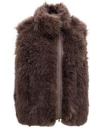 Brunello Cucinelli Cashmere Goat Fur Sleeveless Jacket - Brown
