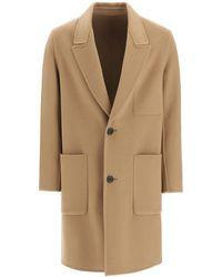 AMI Tweed Single Breasted Blend Coat - Natural