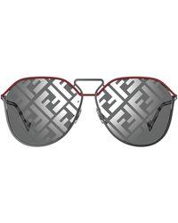Fendi Geometric Frame Sunglasses - Metallic