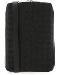 Bottega Veneta Woven Messenger Bag - Black