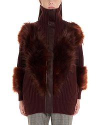 Stella McCartney Fur Trim Zip-up Cardigan - Red