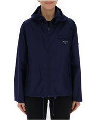 Prada Logo Plaque Hooded Jacket - Blue