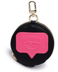 Chiara Ferragni Logo Embossed Circle Coin Purse - Black