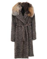 Max Mara Coat With Fur Collar - Grey