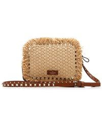 Valentino Garavani Rockstud Fringe Trim Crossbody Bag - Natural