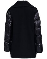 Moncler Black Wool And Nylon Cape With Fringes