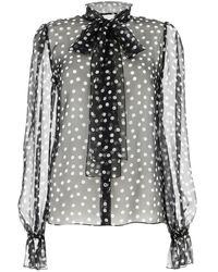Dolce & Gabbana Polka Dot Sheer Blouse - Black